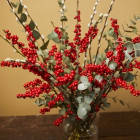 Red ilex, Eucalyptus and Pussy willow arrangement